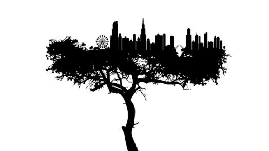 Baum mit Stadt in der Krone