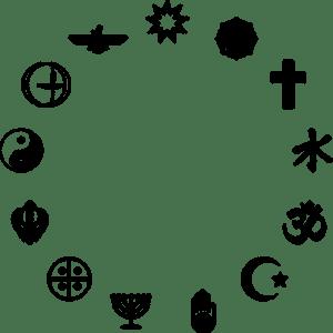 Kreis aus religiösen Symbolen